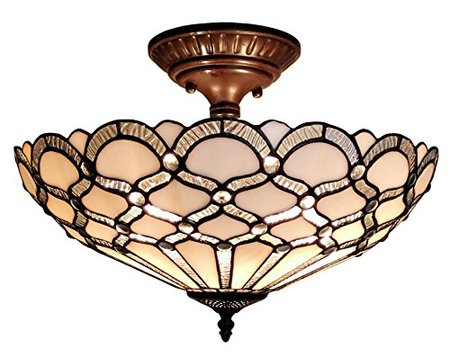 "XINYUDE Lighting  Tiffany Style Ceiling Fixture Lamp, 17"" Wide, White"