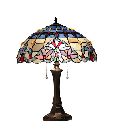 XINYUDE Lighting Grenville Tiffany-Style Victorian 2 Light Table Lamp 16-Inch Shade