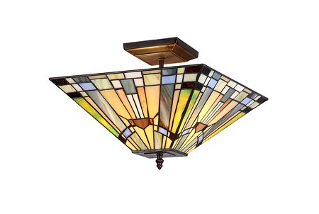 XINYUDE Lighting XINYUDE Lighting Kinsey 2-Light Tiffany Style Mission Semi Flush Ceiling Fixture wi