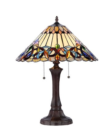 "XINYUDE Lighting Ambrose Tiffany-Style Victorian 2-Light Table Lamp, 21.9"" x 16.54"" x 16.54"""