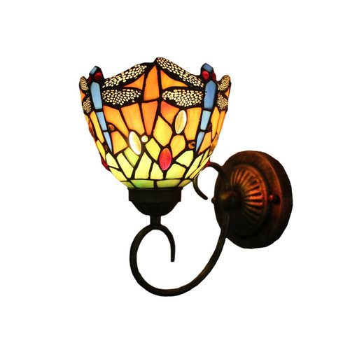 XINYUDE Tiffany Wall Lamp LED Sconces Stained Glass corridor Light Dragonfly Mirror Front Lamp E26 1