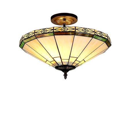 XINYUDE Lighting XINYUDE Lighting Belle 2-Light Tiffany Style Mission Semi Flush Ceiling Fixture wit